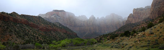 Zions Canyon with Rain Clouds Storms Stock Photos