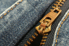 Zip. Of a pair of jeans Royalty Free Stock Image