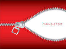 Zip it 2. Red background unzipped and white in the back Stock Image