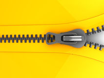 Zip. 3d illustration of opening zip, closeup Stock Photos
