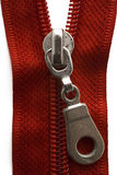 Zip. A red zipper on white Stock Photos