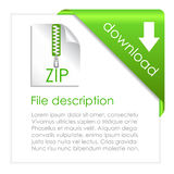 Zip archive download. File description vector card Stock Image