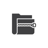 Zip archive folder icon vector, filled flat sign Stock Photos