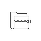Zip archive folder line icon, outline vector sign Stock Photo