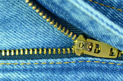 Zip of blue jeans. Royalty Free Stock Images