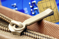 Zip and credit card chip. Royalty Free Stock Photography