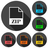 ZIP file icons set with long shadow Stock Images