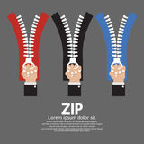 Zip With Hand Collection. Vector Illustration Stock Photo