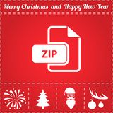 ZIP Icon Vector. And bonus symbol for New Year - Santa Claus, Christmas Tree, Firework, Balls on deer antlers Royalty Free Stock Photography