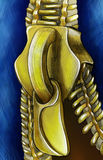 Zip on jeans sketch. Hand drawn and colored pencil sketch of a yellow zipper on jeans Stock Photos