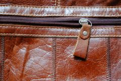 Zip of Leather Bag royalty free stock photos