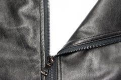 Zip on leather coat Stock Photo