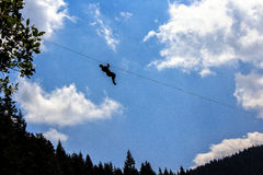 Zip-line above the Black lake Stock Photography