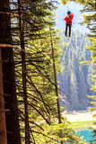 Zip-line above the Black lake Royalty Free Stock Photo