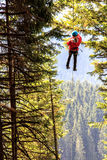 Zip-line above the Black lake Royalty Free Stock Photos