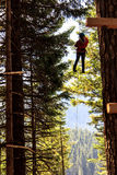 Zip-line above the Black lake Royalty Free Stock Images