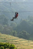 Zip line adventure travel. Zip line adventure trekking in chiangmai Thailand trekker explore stock photography