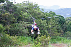 Zip line canopy tours in Costa Rica Royalty Free Stock Images