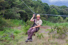 Zip line canopy tours in Costa Rica Stock Image