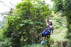 Zip line canopy tours in Costa Rica Royalty Free Stock Photography