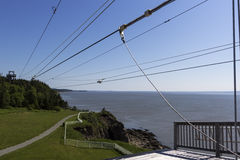 Zip line at Cape Enrage in Canada. Zip line at Cape Enrage in New Brunswick in Canada stock photos