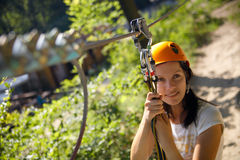 Zip-line gear. Professional climbing gear with helmet pulley and carabiner Stock Photo