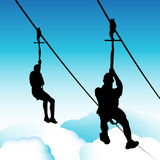 Zip Line Men Royalty Free Stock Photos