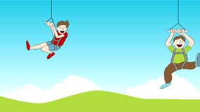 Zip Line Riders Footage. Footage of a family riding on a zip line royalty free illustration
