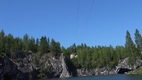 Zip-line. Ropes course, over water. Flying Fox. Marble Canyon. stock video footage