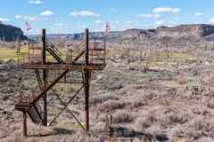 Zip line in the Snake River Canyon. Zip line platform, Snake River Canyon at Twin Falls, Idaho royalty free stock image