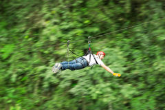Zip Line In Superman Position Royalty Free Stock Photography