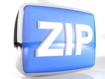 ZIP purple box icon - 3D rendering. An icon for zip files: a blue rounded box with a chromed border line has the write ZIP on its front face - 3D rendering Royalty Free Stock Images