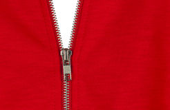 Zip of a red cotton sweater Royalty Free Stock Photos