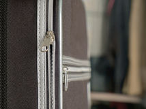 Zip of travel suitcase. Close up of open zip of travel suitcase Royalty Free Stock Photos