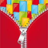 Zip vector. Red jacket with zip over gifts, background. vector illustration Royalty Free Stock Images