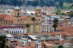 Zipaquira Colombia. ZIPAQUIRA, COLOMBIA - MAY 7, 2014: Aerial view of the town of Zipaquira which is situated outside of Bogota. Notably known for its Salt royalty free stock photos