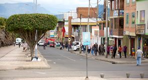 Zipaquira Colombia. ZIPAQUIRA, COLOMBIA - MAY 7, 2014: The streets of Zipaquira a town situated outside of Bogota. Notably known for its Salt Cathedral, an royalty free stock photo