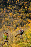 Zipline. Guides and tourists on longest zipline in North America, Hunter, NY Stock Photography