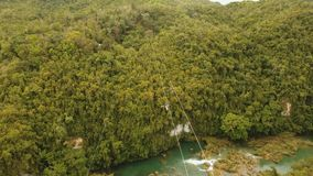 Zipline de la atracción en la selva Bohol, Filipinas metrajes