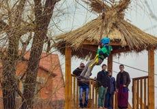 Zipline entertainment on Shrovetide Celebration in Zaporizhia Royalty Free Stock Photos