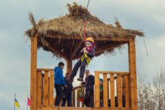 Zipline entertainment on Shrovetide Celebration in Zaporizhia Royalty Free Stock Images