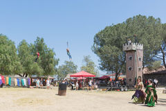 Zipline during the Renaissance Pleasure Faire. Irwindale, CA - USA - April 23, 2017: Zipline during The 55th Annual Renaissance Pleasure Faire Stock Photography