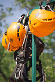 Zipline Safety Equipment. Danger Zipline orange Safety Equipment Royalty Free Stock Images