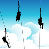 Ziplinie Gruppen-Leute Stockbilder