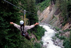 ziplining山的吹口哨 免版税库存图片