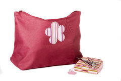 Zipped Cosmetic Bag and Manicure Set. On a white background stock photo