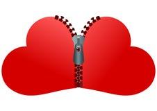 Zipped hearts Stock Image