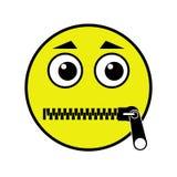 Zipped mouth emoticon Stock Photos