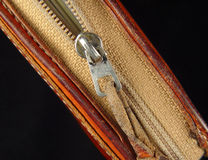 Zipper. Photo of Purse Zipper stock photography