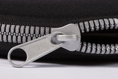 Zipper. And cloth close up Stock Images